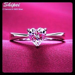 SHIPEI Original Perfect Cut Heart Shaped CZ Ring